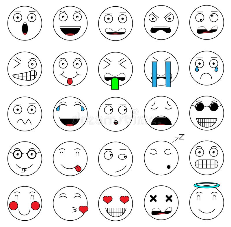 Set of emotions set emoji face icons face pixel face retro vintage. Set of emotions set emoji face icons face pixel face for web royalty free illustration