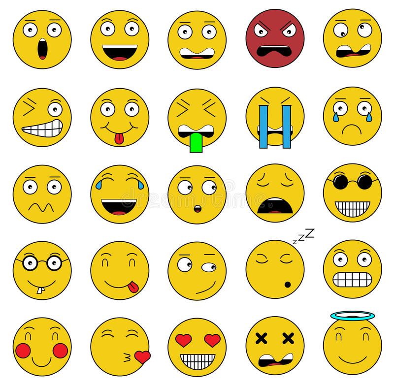 Set of emotions set of emoji icons smile yellow icon. For web stock illustration