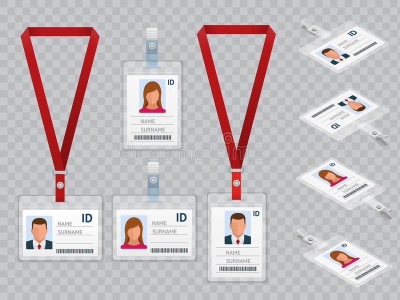 Set of Employees Identification White Blank Plastic Id Cards with Clasp and Lanyards Isolated Vector Illustration. Set of Employees Identification White Blank vector illustration