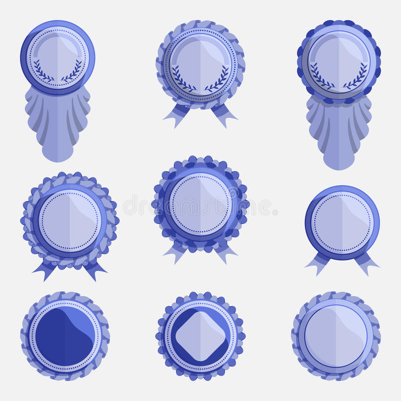 Set of empty blue badges with ribbons royalty free illustration