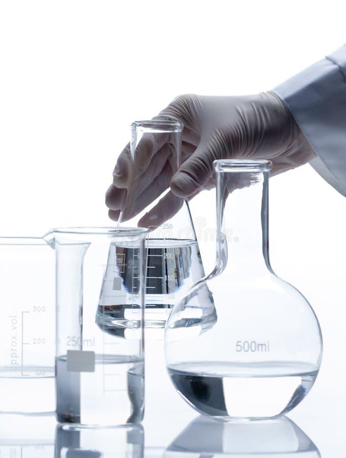 Set of empty classic laboratory flasks royalty free stock photo