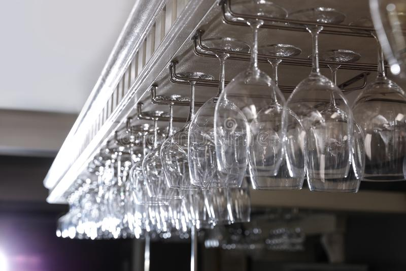 Set of empty clean glasses royalty free stock photography