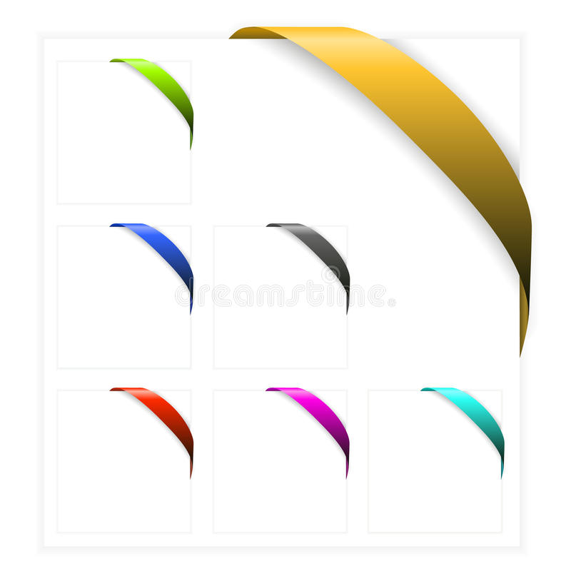 Set of Empty colorful corner ribbons. You can write some text on it (sale, new, sold, free, hot, etc stock illustration
