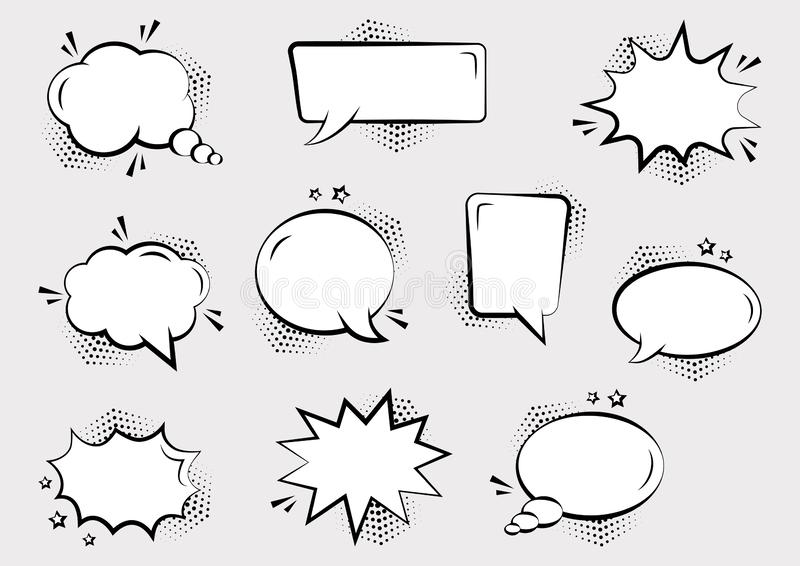 Set of empty comic speech bubbles different shapes with halftone shadows and stars. Comic sound effects in pop art style. Vector vector illustration
