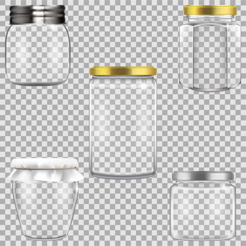 Set of empty glass jars for canning. Vector illustration of empty bottle for conservation, kitchen canning preserves set with cover. Element for design stock illustration