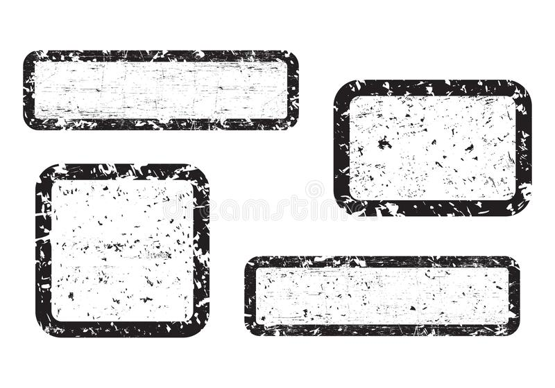 Set of empty grunge stamp, graphic design elements, black isolated on white background, illustration. stock illustration