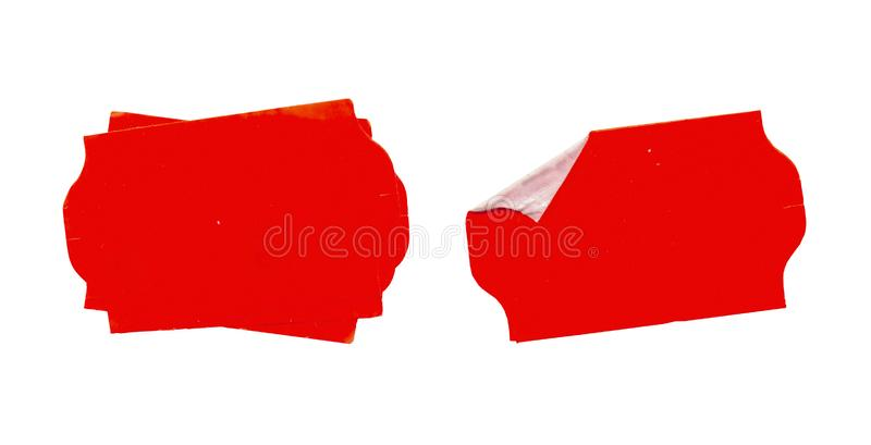 Set of empty grungy adhesive price stickers, red price tags, with free copy space, isolated royalty free stock photos