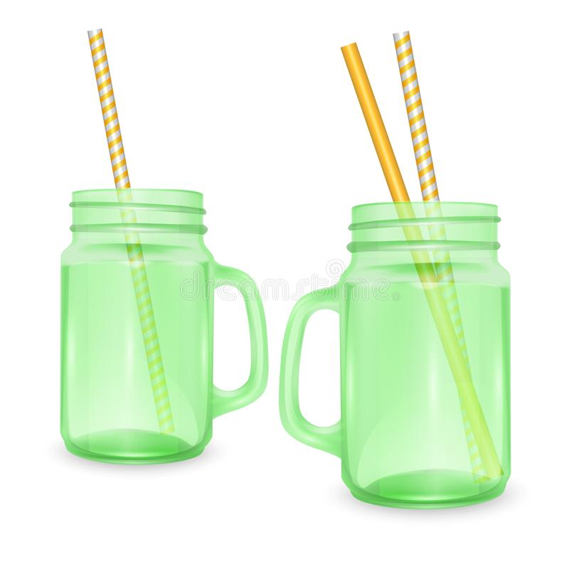 Set of empty jar for smoothies with striped straw for cocktails isolated on white background for advertising your products drinks. In restaurants and cafes. 3D stock illustration