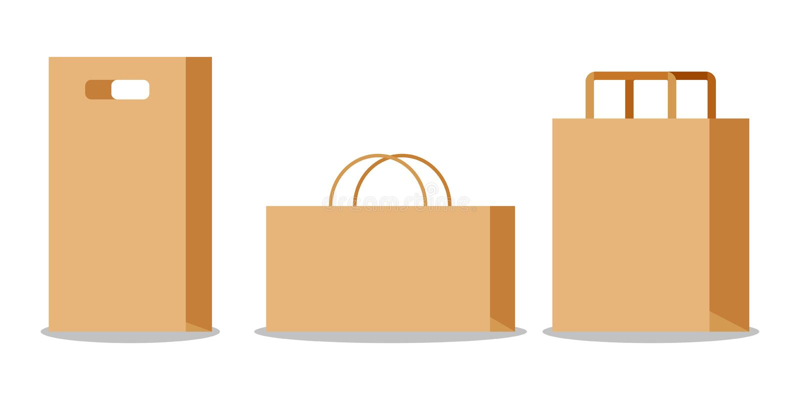 Set of empty kraft brown paper bag with handles vector illustration