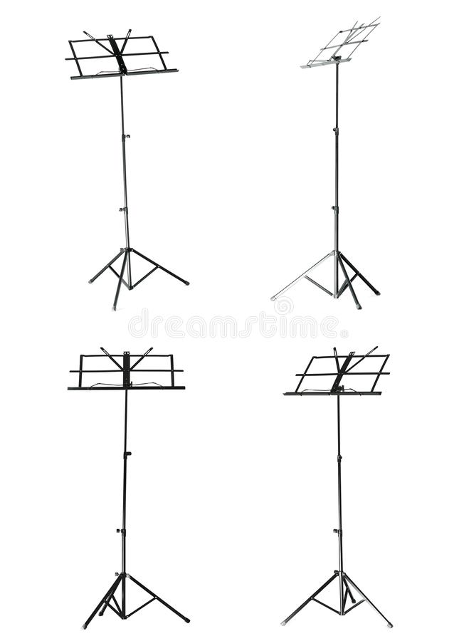 Set of empty music stands for note sheets. On white background royalty free stock images