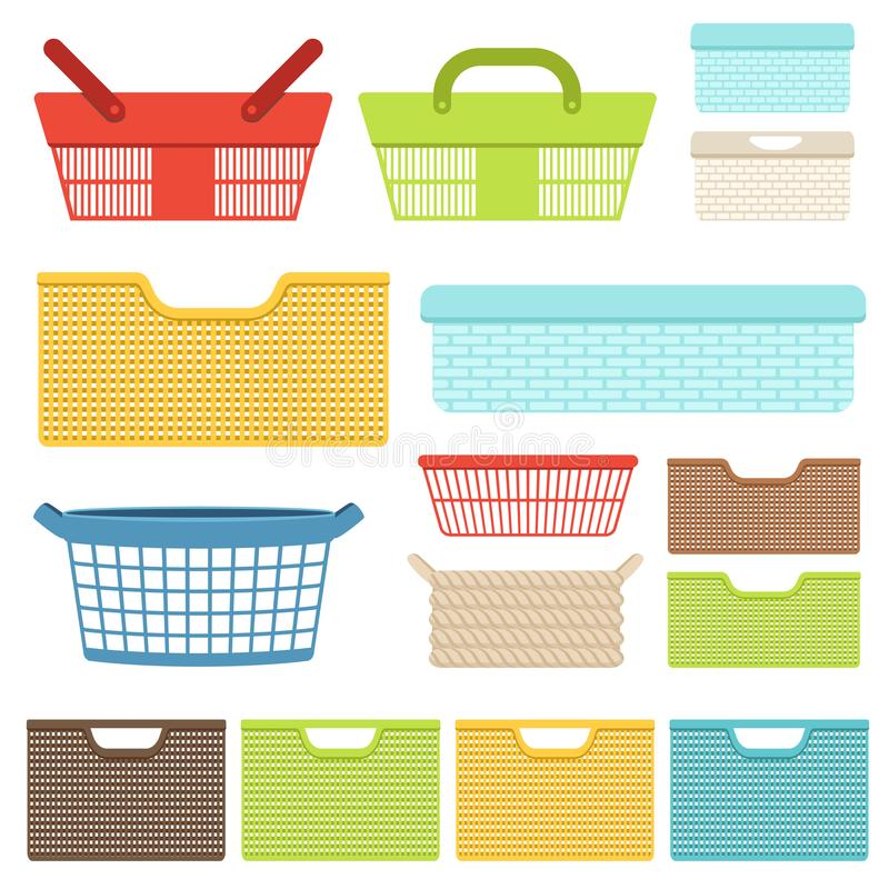 Set of empty plastic containers and baskets for the bathroom or shops. Plastic boxes for laundry and storage of objects royalty free illustration