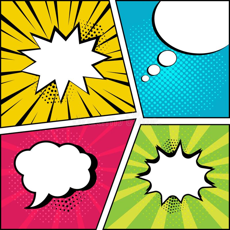 Set of empty speech bubbles in pop art style. Vector illustration. Set of empty speech bubbles on comic bright background in pop art style. Vector illustration vector illustration