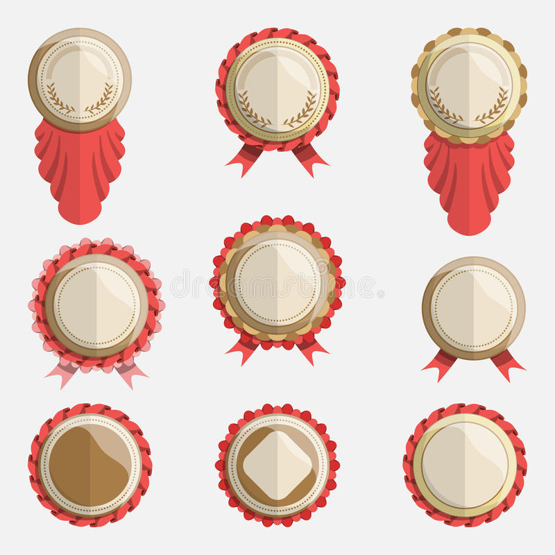 Set of empty vector badges with ribbons. vector illustration