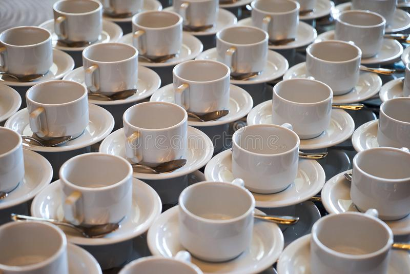 Set of Empty white ceramic tea or coffee cup and saucers, top vi stock images