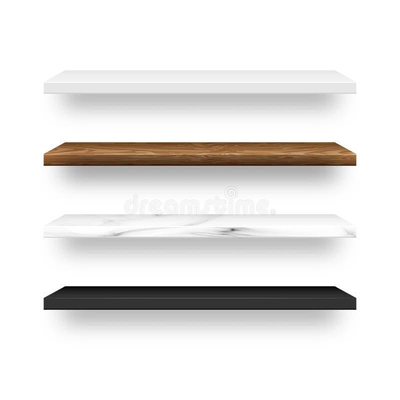 Set of empty wood, marble, white, black plastic shelf shelves. Vector illustration royalty free illustration