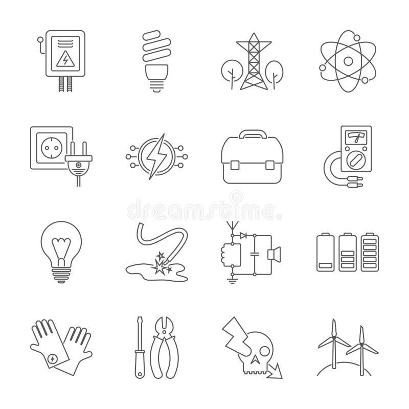 Set energetyczne ikony w nowo?ytnym cienkim kreskowym stylu Wysokiej jako?ci czarni konturu electicity symbole dla strona interne royalty ilustracja