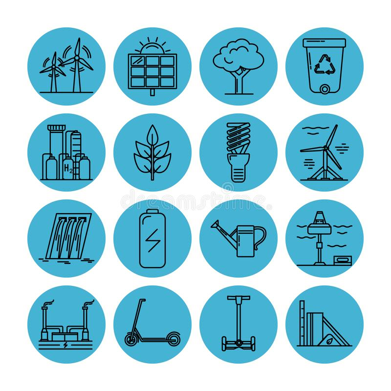 Set energii i ekologii kreskowe ikony ilustracji