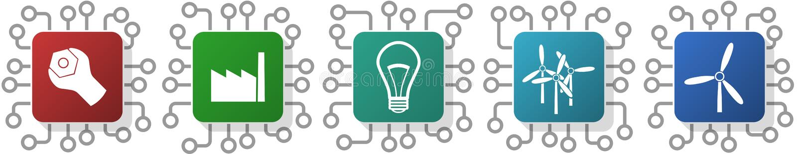 Set of energy, factory, electricity and industry, icons for webdesign and mobile applications, cpu, chip concept vector stock illustration