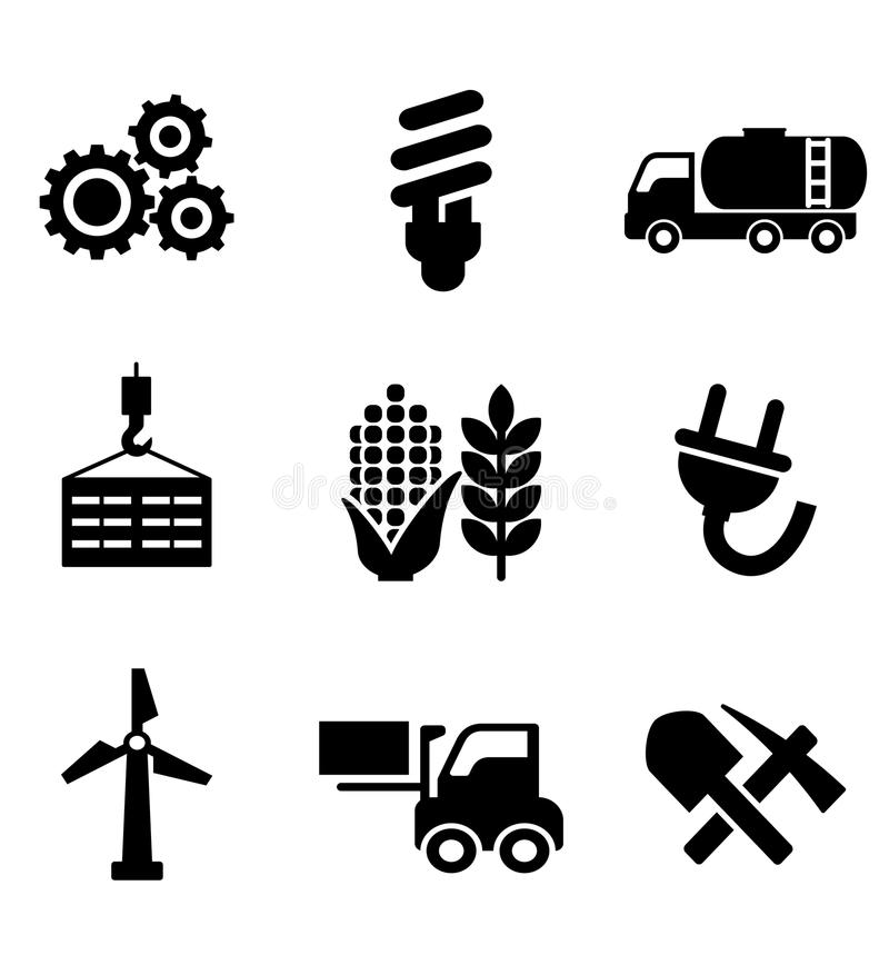 Set of energy and industry icons. Set of black energy and industry icons depicting machinery, electricity, mining, oil, wind turbine, plug, forklift, agriculture royalty free illustration