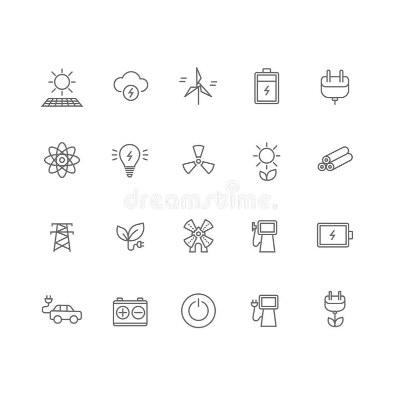 Set of 20 energy industry thin line icons. vector illustration