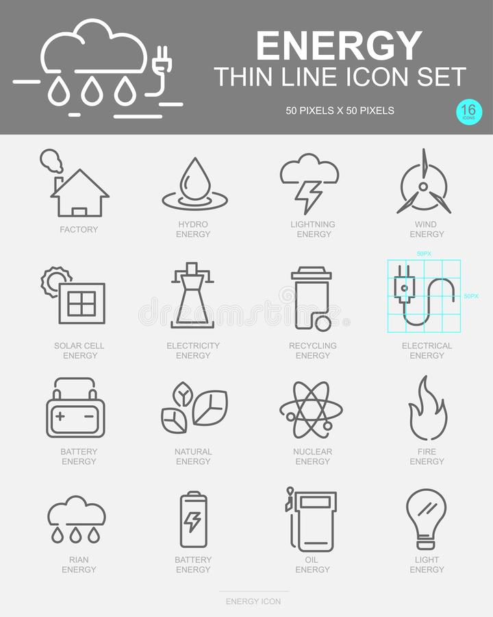 Set of Energy Vector Line Icons. Includes wind energy, Hydro energy, Solar Cell energy, Factory and more vector illustration