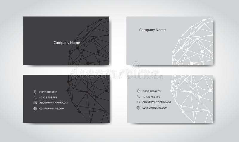 Set of engineering business card. Engineering drawings. vector illustration royalty free illustration