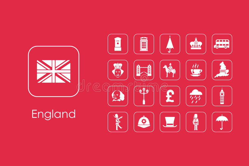 Set of England simple icons royalty free illustration