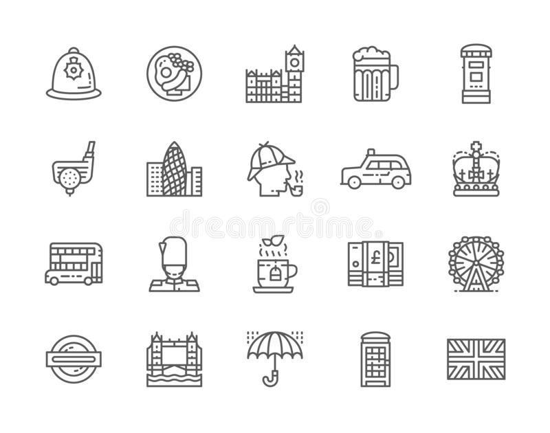 Set of English Culture Line Icons. Traditional Postbox, Police Helmet and more. royalty free illustration