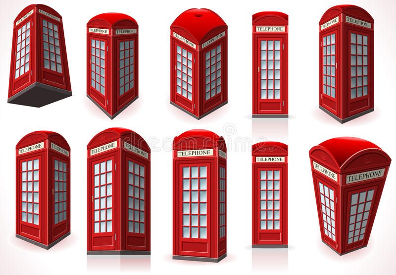 Set of English Red Telephone Cabin vector illustration
