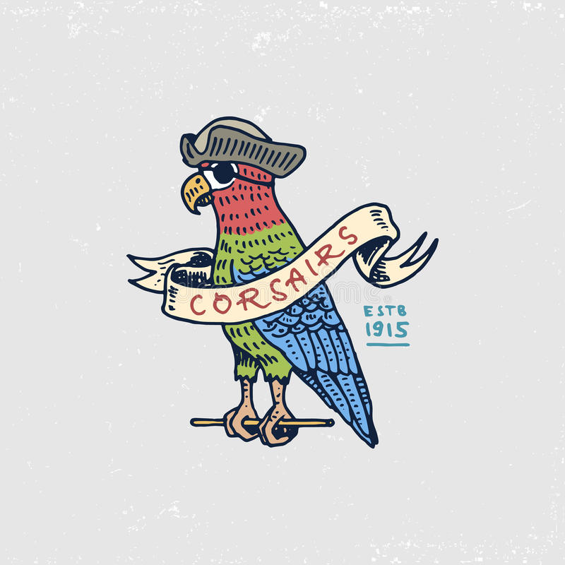Set of engraved, hand drawn, old, labels or badges for corsairs, Caribbean parrot. Pirates marine and nautical or sea. Ocean emblem stock illustration