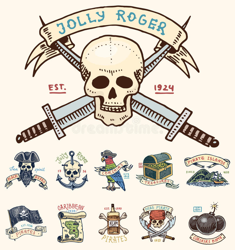 Set of engraved, hand drawn, old, labels or badges for corsairs, skull at anchor, treasures, flag , Caribbean parrot. Jolly roger. Pirates marine and nautical vector illustration