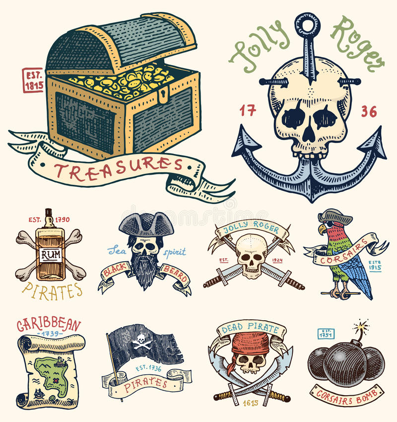 Set of engraved, hand drawn, old, labels or badges for corsairs, skull at anchor, treasures, flag , Caribbean parrot. Jolly roger. Pirates marine and nautical royalty free illustration