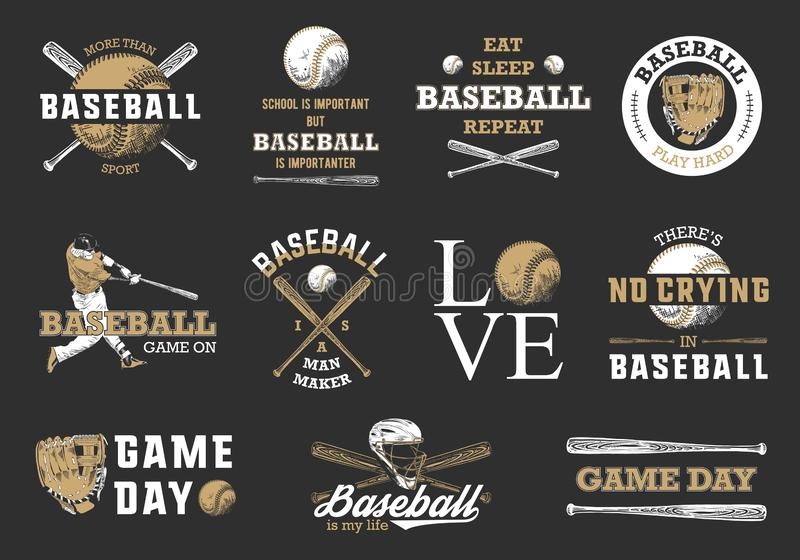 Set of 11 engraved style illustrations for posters, decoration, t-shirt design. Hand drawn baseball sketches with motivation royalty free stock photo