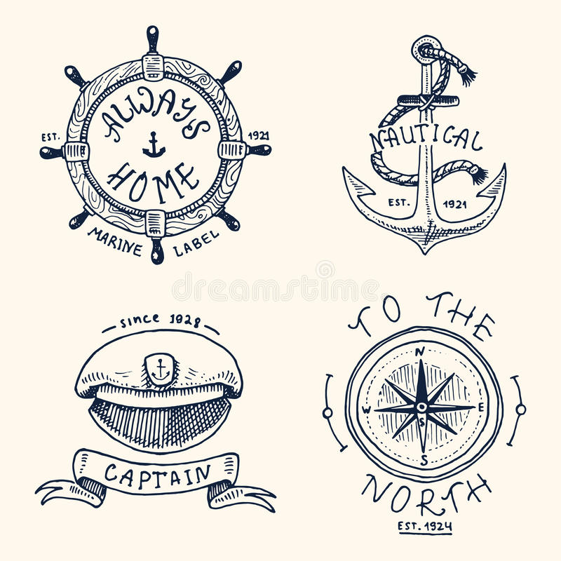 Set of engraved vintage, hand drawn, old, labels or badges for anchor, steering wheel, captains cap, compass. Marine and royalty free illustration