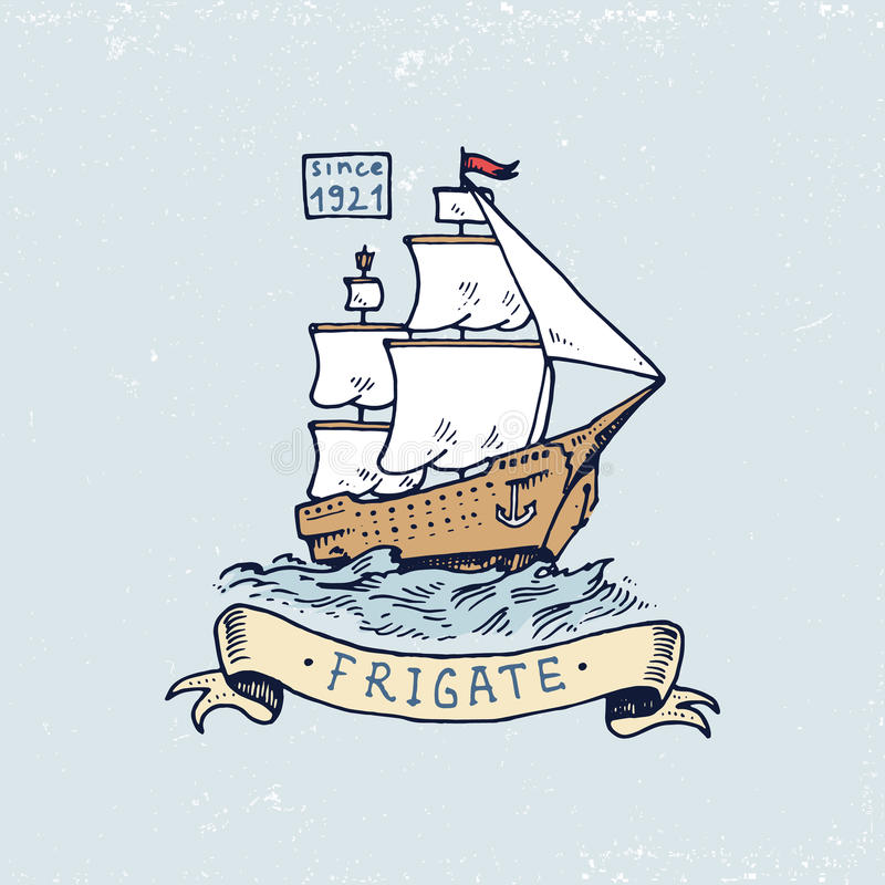 Set of engraved vintage, hand drawn, old, labels or badges for atlantic tidal wave, frigate or ship. Marine and nautical. Or sea, ocean emblems stock illustration