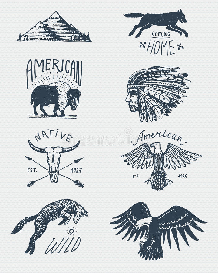 Set of engraved vintage, hand drawn, old, labels or badges for camping, hiking, hunting with bald eagle. buffalo, skull vector illustration