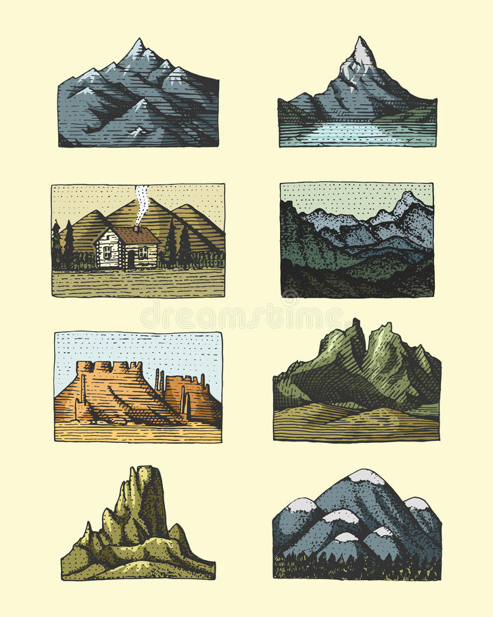 Set of engraved vintage, hand drawn, old, labels or badges for camping, hiking, hunting with mountain peaks, from south stock illustration