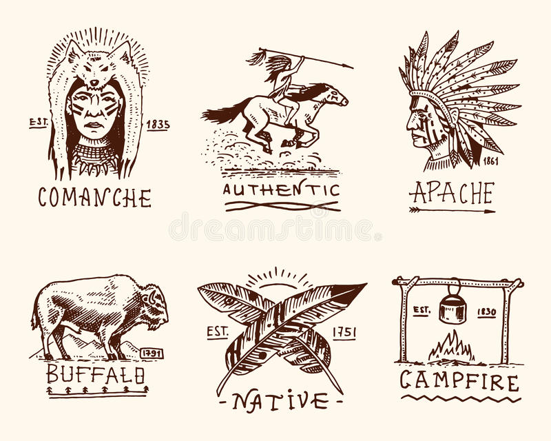 Set of engraved vintage, hand drawn, old, labels or badges for indian or native american. buffalo, face with feathers vector illustration