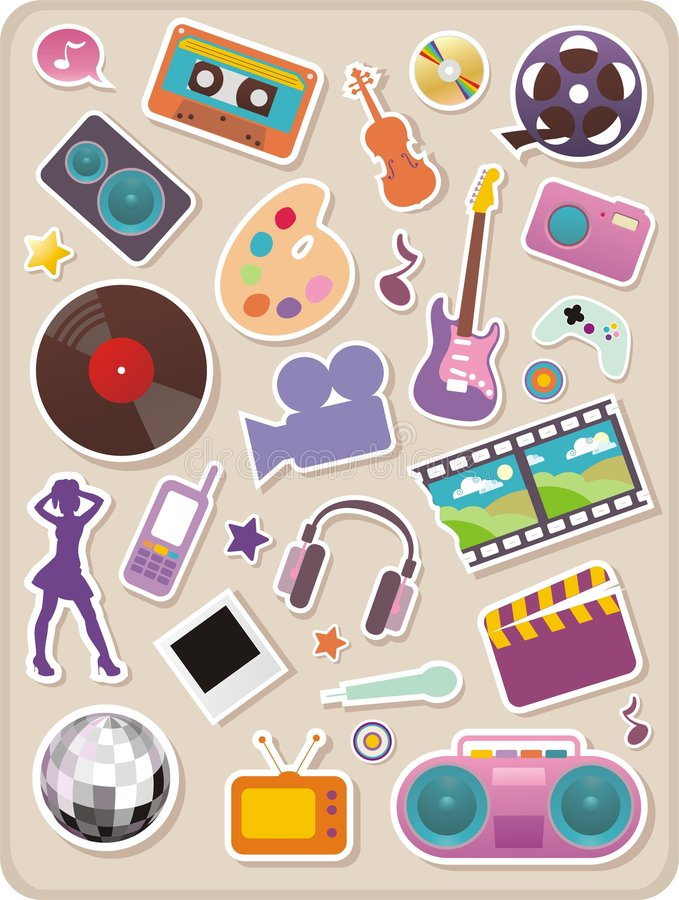 Download Set Of Entertainment Stickers Stock Photos - Image: 8124263