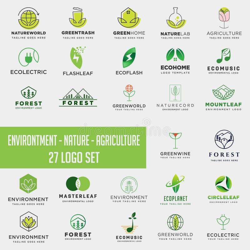 Set of environment agriculture logo, icon element collection logo download. Set of environment agriculture logo, collection logo download royalty free stock image