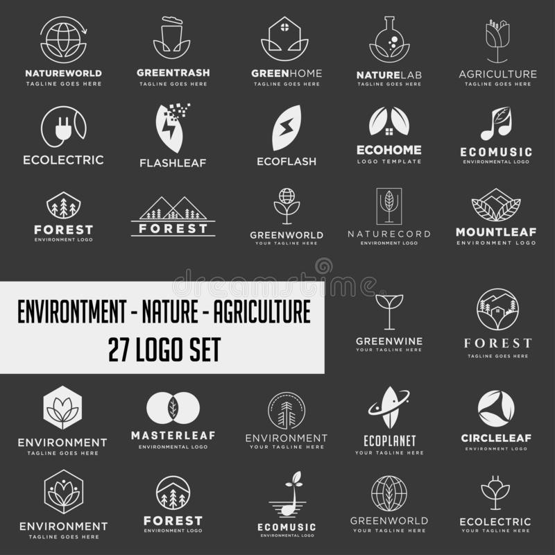 Set of environment agriculture logo, icon element collection logo download. Set of environment agriculture logo, collection logo download royalty free stock photos