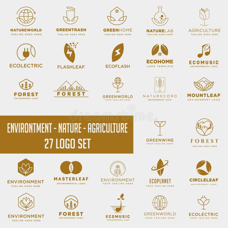 Set of environment agriculture logo with gold color , icon element collection logo download. Set of environment agriculture logo with gold color, collection logo royalty free stock image