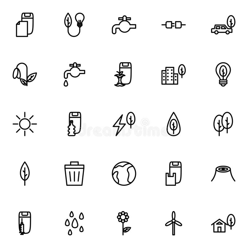 Set of environmental line icons on white background, for any occasion stock illustration