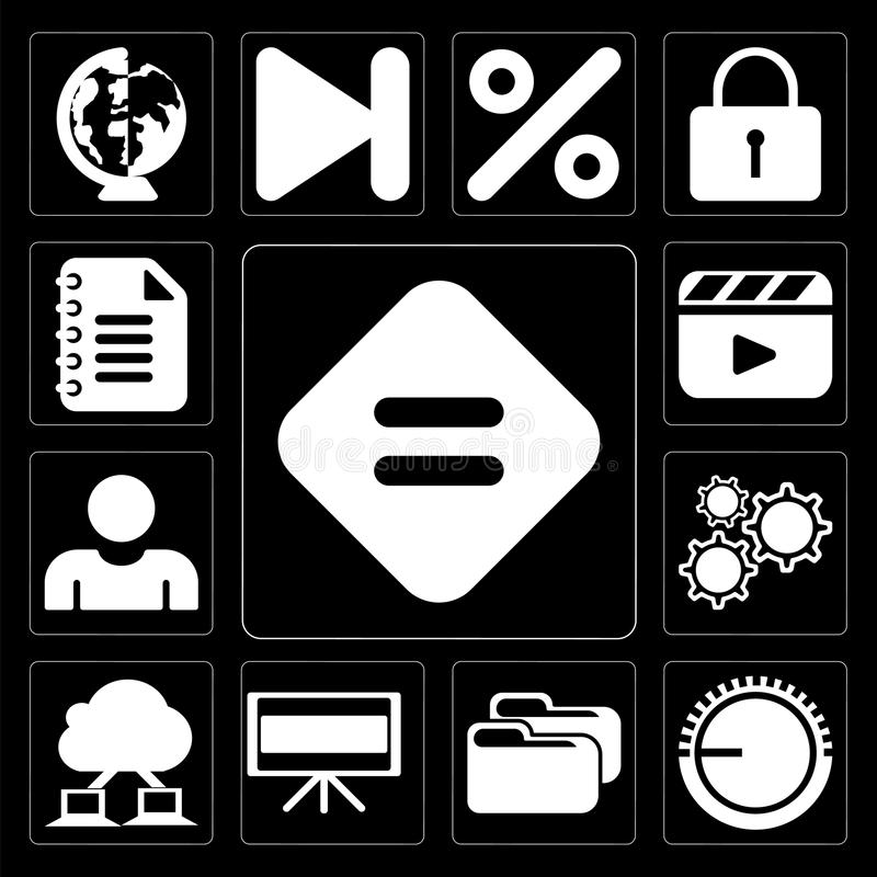 Set of Equal, Volume control, Folder, Television, Cloud computing, Settings, User, Video player, Notepad, editable icon pack. Set Of 13 simple icons such as vector illustration