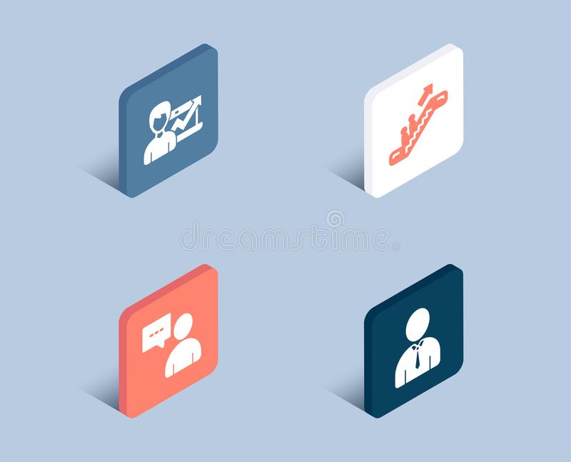 Escalator, Success business and Users chat icons. Human sign. Elevator, Growth chart, Communication concept. royalty free illustration