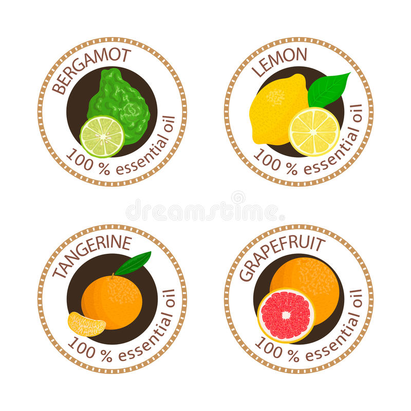 Set of essential oils labels. Bergamot, lemon, grapefruit, mandarin. Set of 100 essential oils labels. Bergamot, lemon, grapefruit, mandarin symbols. Logo vector illustration