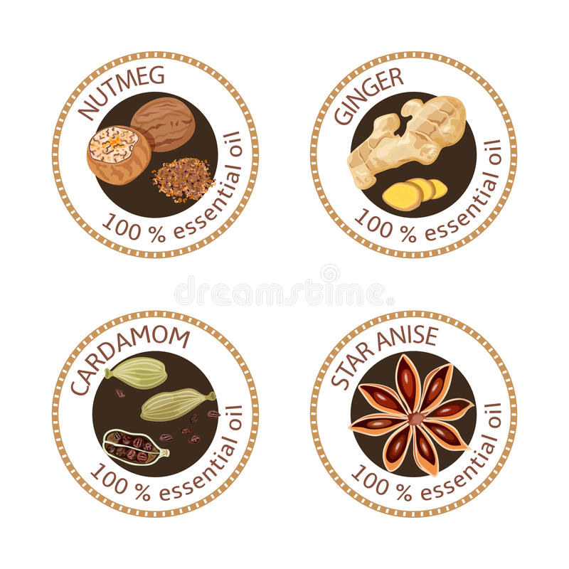 Set of essential oils labels. Nutmeg, ginger, cardamom, star anise. Set of 100 essential oils labels. Nutmeg, ginger, cardamom, star anise symbols. Logo stock illustration