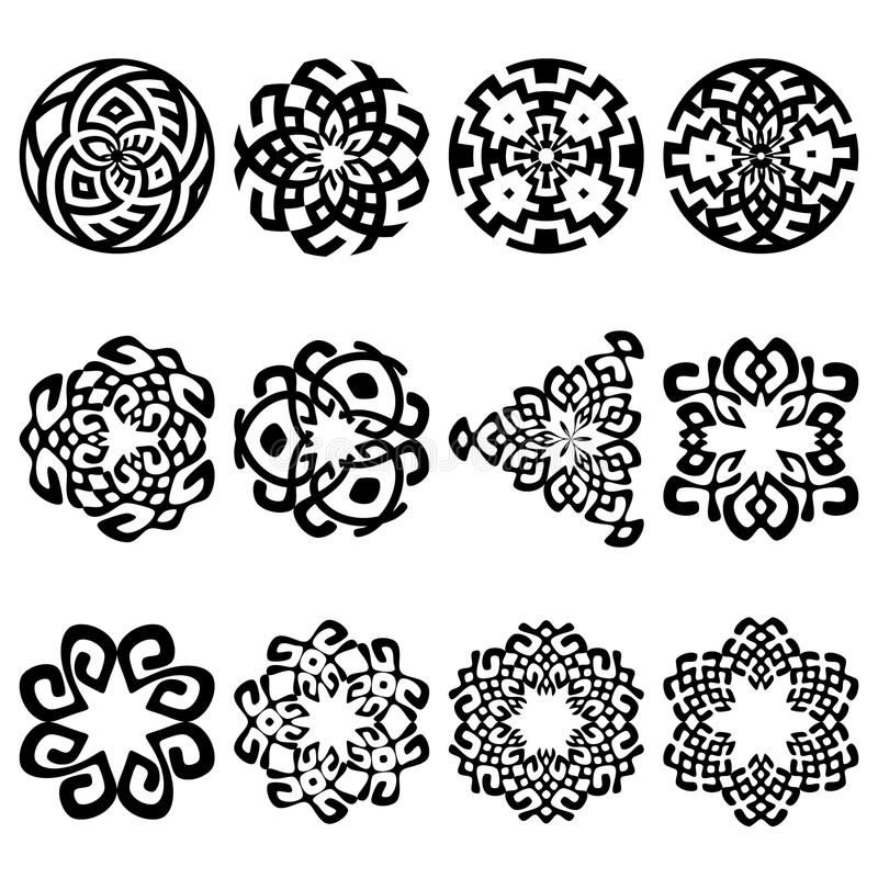 Set Of Black Flower Design Elements Stock Vector: Set Of 12 Ethnic Floral Signs And Design Elements Stock