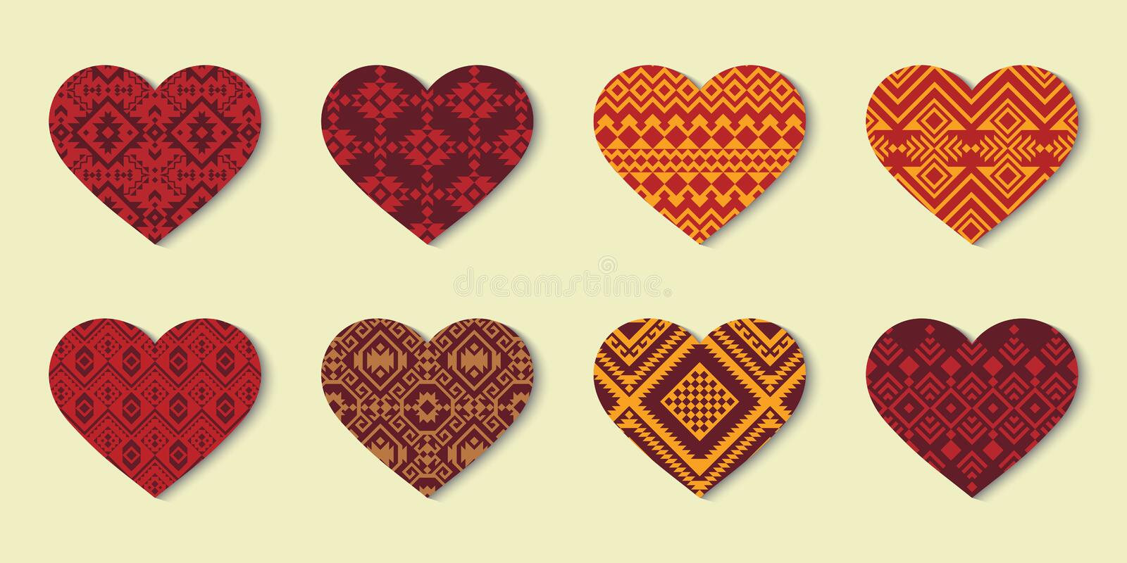 Set of Ethnic Hearts with decorative geometric ornament. Set of Hearts with geometric ornament. Ethnic design. Can be used for Valentine`s Day, as a print on vector illustration