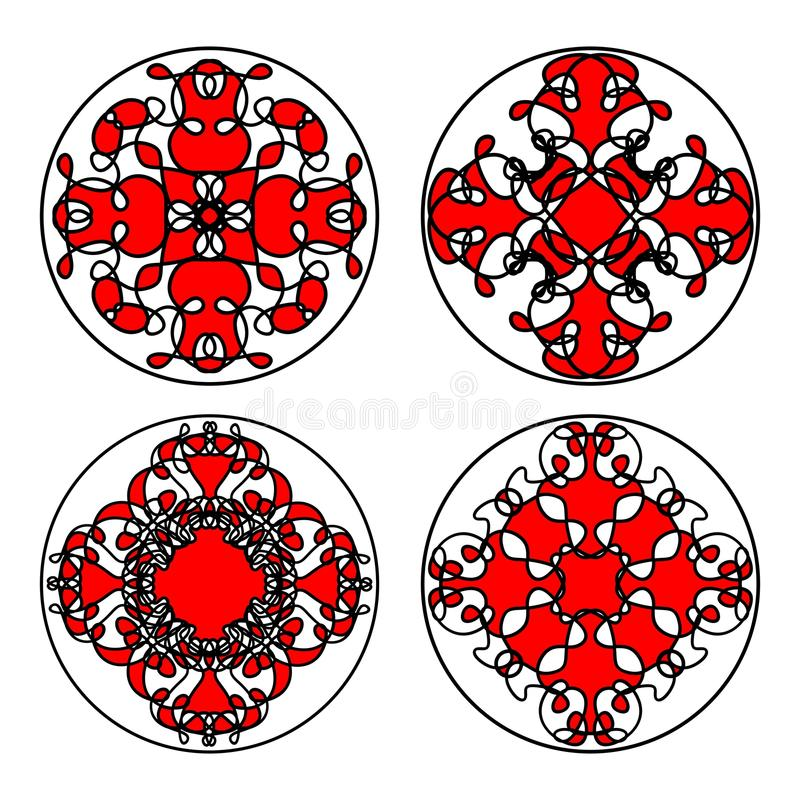 Set of ethnic oriental patterns in circle. Symmetric decorative floral filigree motifs in red, black and white. Eps10 stock illustration